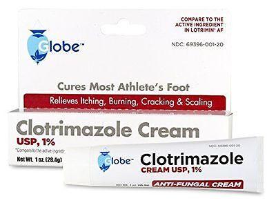 5 Tubes of Clotrimazole 1% Anti-Fungal Cream 1oz Ea.