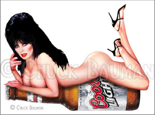 Fridge Magnet Sexy Elvira Coors Light bottle babe pin-up girl art