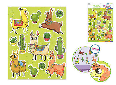 LLAMA & CACTI wall stickers 13 glitter decals western themed room decor cactus