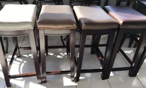 Brand New Assorted Colors Bar Height Leather Top Stools.