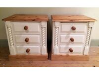 Pair of Bedside Tables - Shabby Chic - Hand Painted in Everlong French Cream Chalk Paint