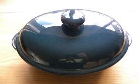 "Denby Greenwich oval casserole with lid 12.5"" x 8"""