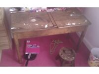 Old fashioned school timber desk