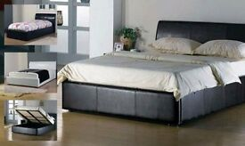 👍SALE ON👍KING SIZE LEATHER STORAGE OTTOMAN BED FRAME &MATTRESS FREE DELIVERY SINGLE DOUBLE SMALL👍