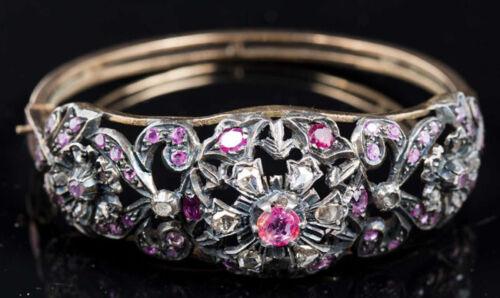 3.20ct Rose Cut Diamond Antique Look 925 Silver Ruby Gemstone Bracelet