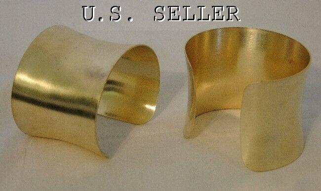 Brass Concaved Bracelet Cuff Blanks  2 inch Pkg Of 12