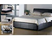 DOUBLE LEATHER BED WITH STORAGE AND MATTRESS