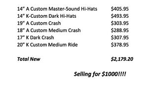 Zildjian Cymbals for Sale!! Amazing deal..selling everything!!
