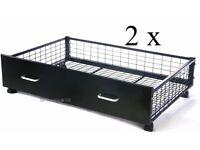 Pair of black metal underbed storage drawers. Black under bed storeage draws