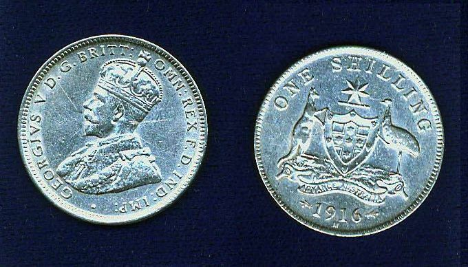 AUSTRALIA KING GEORGE V  1916-M  1 SHILLING SILVER COIN XF++