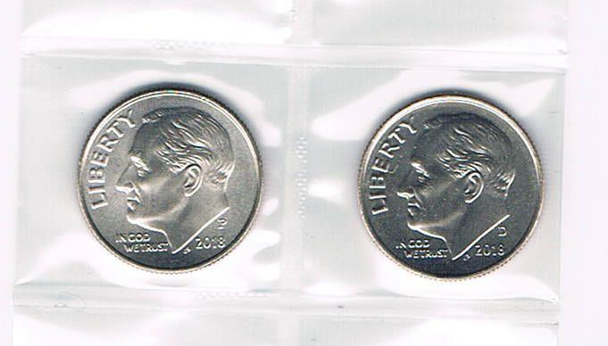2018 P&D ROOSEVELT DIMES - BRILLIANT UNCIRCULATED FROM BANK ROLLS