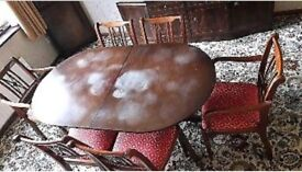 ***REDUCED*** Vintage Retro Solid Mahogany dining table + 6 refurbished chairs
