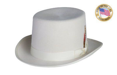 Shannon Phillips IVORY Top Hat DELUXE LINED Tuxedo Formal Topper NEW ALL SIZES