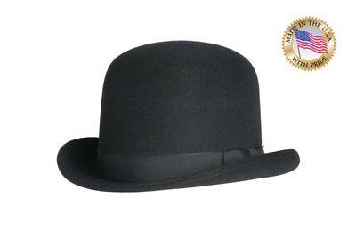 Shannon Phillips Wool Felt BLACK TALL DERBY Hat Western Bowler NEW All Sizes USA - Black Felt Derby Hat
