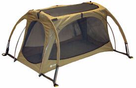Littlelife Twin Arc lightweight travel cot 0+ with sunshade
