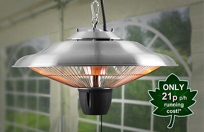 Ceiling Mounted Electric Hanging Patio Heater Halogen Garden Light Firefly 1.5kW