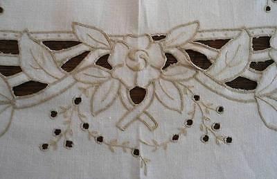 "Vintage Madeira Linen Banquet Tablecloth Set Cutwork Hand Embroidered Roses 100"""
