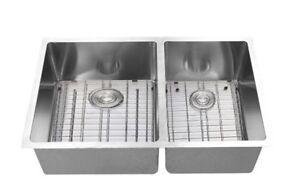 60-40 split under mount sink , free grids , basket drainer