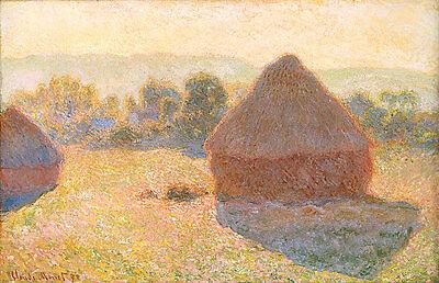 'Haystacks Midday' Monet 1890 Classic Art Print A4