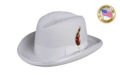 WHITE GODFATHER Homburg Shannon Phillips Fedora Lined Wool Hat NEW NHT25-70 (White Felt Fedora)
