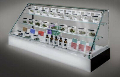 Budbar Cabinet Glass Countertop Display Case Led Base For Herbal Dispensary