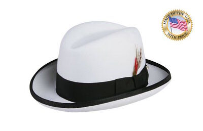 Shannon Phillips WHITE BLACK GODFATHER Homburg Fedora Wool Hat ALL SIZES New USA (White Felt Fedora)