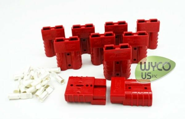 10 (TEN) ANDERSON CHARGER PLUGS, #6 PINS, SMALL RED, FLOOR SCRUBBERS, GOLF CARTS