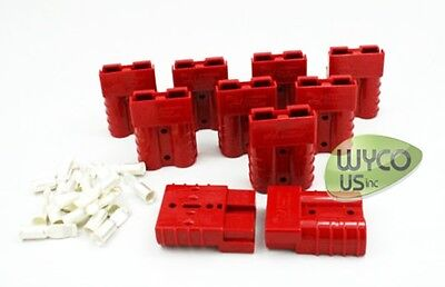 10 ANDERSON CONNECTORS SB50 600V, #10/12 GAUGE, SMALL RED, GENDERLESS STYLE