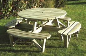 Round Table and Bench Set