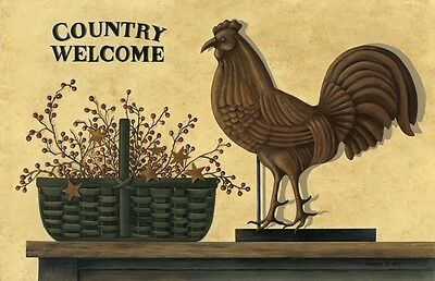 New Primitive COUNTRY WELCOME ROOSTER BERRY BASKET STARS Floor Mat Area Rug USA
