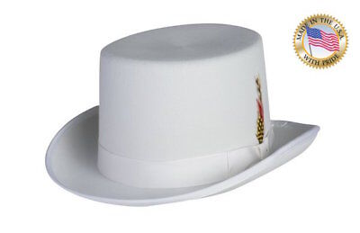 WHITE Top Hat Shannon Phillips DELUXE LINED Tuxedo Topper NEW All Sizes USA