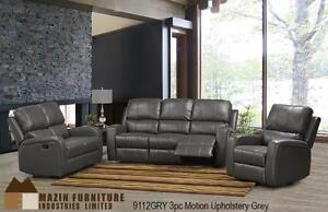 2pc Reclining Sofa and Chair in a Grey Gel Leather Model 9112