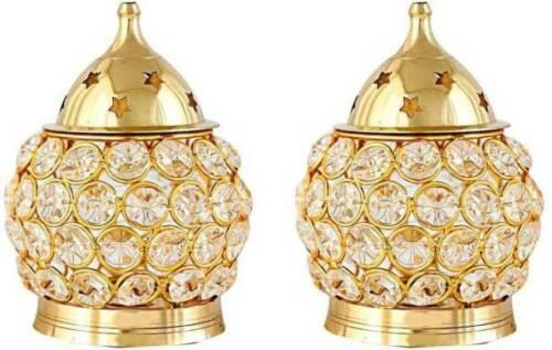 Set of 2 Brass Akhand Diya   Diamond Crystal  Decorative Brass Crystal Oil Lamp