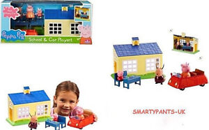 Peppa Pig School and Family Car Playset with Schoolhouse & Figures Brand New