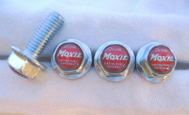 Moxie Soda License Plates Screws, Moxie Soda Logo Plate Screws, Moxie Screws
