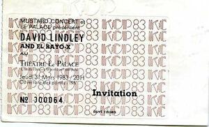DAVID LINDLEY ticket palace paris 1983 - France - DAVID LINDLEY ticket palace paris 1983 - France