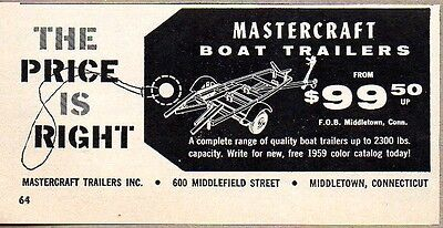 1959 Print Ad Mastercraft Boat Trailers Middletown,CT
