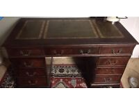 Stunning mahogany leather top pedestal regency style 9 drawer desk with desk chair