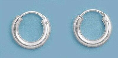 Silver Small Continuous Hoop Earrings Sterling Silver 925 Best Deal Jewelry 8