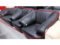 Set of 3 from genuine black leather