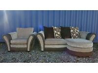 Stunning DFS Brown Corner Sofa+Armchair.