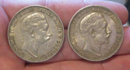 Prussia (Germany) - (2) Silver 3 Mark (1909 & 1912)