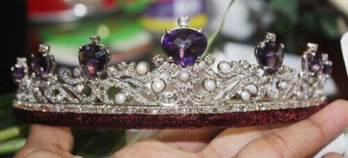 13.44ct Rose Cut Diamond Antique Look 925 Silver Pearl  Amethyst Gemstone Tiara