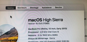 MacBook Pro (Retina, 13-inch, Early 2013) 256G 8G 2,6 I5