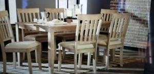 Dining table. Light washed oak. Pottery barn style 6 chairs