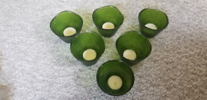 6 green tea light cups