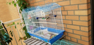 Large blue and white bird cage