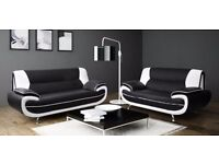 Brand New -- Cheapest Offer -- Carol 3 and 2 Seater Faux Leather Sofa in Black/Red and more colors