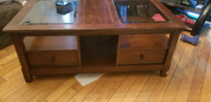 Solid wood coffee table with lots of storage