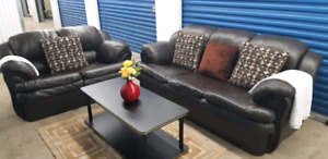 Brown faux leather sofa set